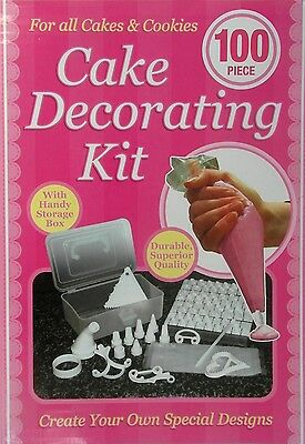 NEW 100 Piece Cake Decorating Kit Set with Handy Storage Box - Ideal Gift!
