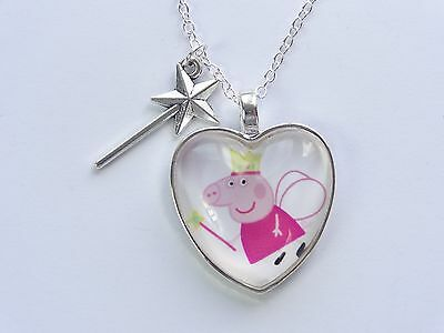 Girls Fairy Peppa Pig Glass Dome Heart With Wand Pendant Necklace