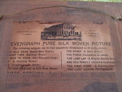 "Stevengraph silk picture, late 1800,s, ""The good old Days"", carriage/horses,"
