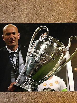 Original Hand Signed Real Madrid Picture By Zinedine Zidane