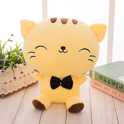 Cute Plush Stuffed Toy Fortune Cat Kitty Tail Gift Dolls High Sofa Pillow Yellow