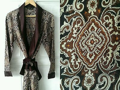 Vintage 1970s 1960s St Michael Brown Smoking Jacket Dressing Gown Small