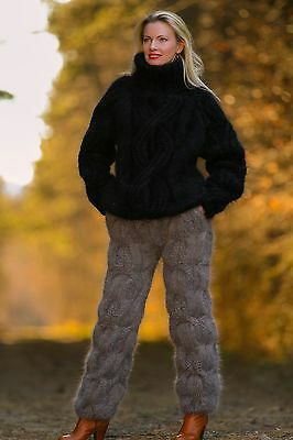 SUPERTANYA mohair pants THICK trousers hand knitted joggings fuzzy leg warmers