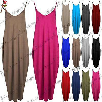 Womens Ladies Camisole Baggy Sleeveless Long Top Thin Strap Cami Maxi Dress