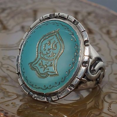 925 Sterling Silver Islamic Mens Ring Blue Agate Nalain  Shareef engraved