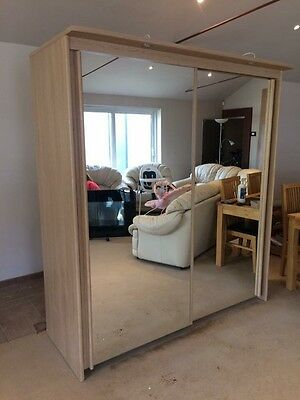 Sliding Mirror Double Wardrobe With Lights
