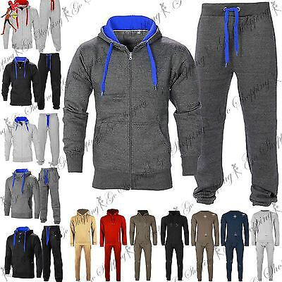 Mens Tracksuit Gym Hooded Jogging Contrast Full Top Bottoms Fleece Joggers Set