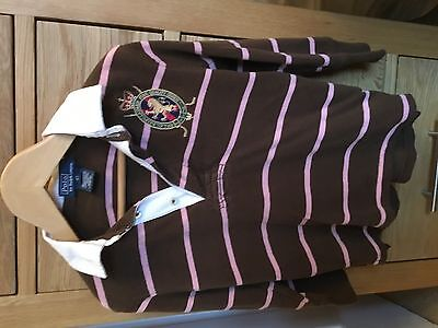 Boys Genuine Ralph Lauren Long Skeeve Polo, Rugby top in Brown & Pink - age 4T