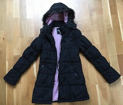 Girls Black Hooded Quilted Long Jacket GJK - TUTU Age 11/12 Years