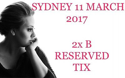 ADELE  SYDNEY 11 MARCH 2017 2x B RESERVE TICKETS