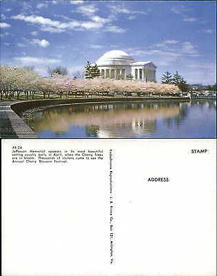Jefferson Memorial in April Japanese Cherry Trees in bloom 1960s postcard