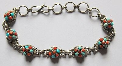 925 sterling silver vintage turquoise and coral orange agate stone bracelet