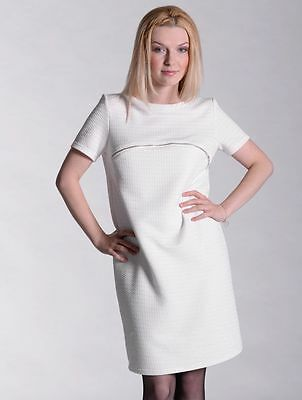 White Quilted Winter Tunic Golden Zipper Elegant Occasion Breastfeeding Dress