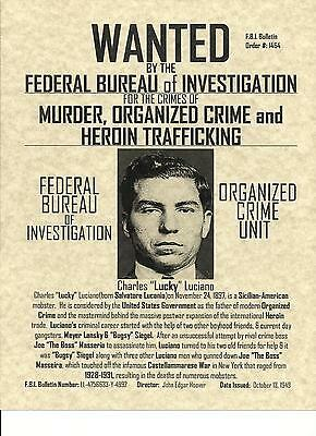 Lucky Luciano~Gangster Poster  Wanted Fbi Mafia