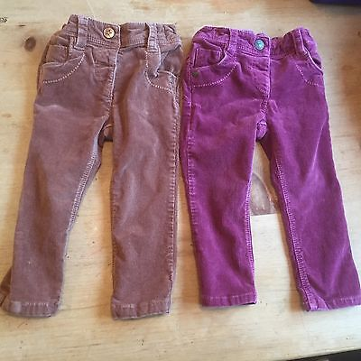 Next Girls 12-18 months Cords In Nutmeg And Dark Pink/red Trousers