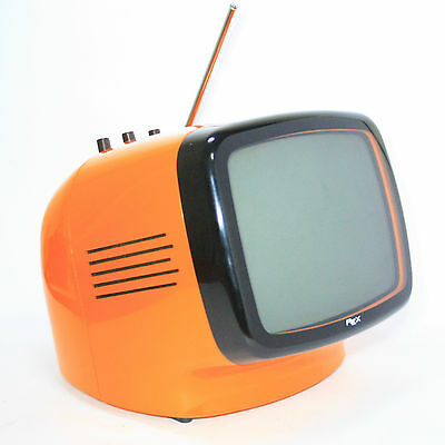 """Iconic Portable Television Rex L 9"""" Year '70 Vintage Space Age Made In Italy"""