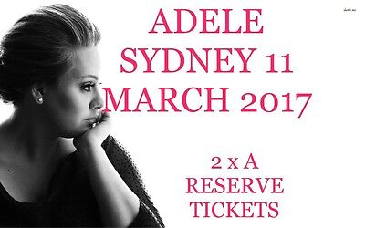 Adele Sydney 11 March 2017 A Reserve 2 Tickets