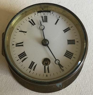 Antique Small French  8 Day Ships Clock With A Good Cylinder Platform Escapement