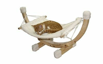 Kerbl Siesta Cat Hammock, Wood Frame, White, Pet Bed, Plush Toy, Sleeping Animal