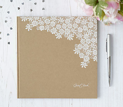 Personalised Wedding Guest Book. Vintage Style Floral Guest Book and Box.