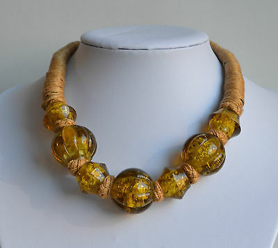 Old African Tribal Handmade Necklace Statement Melon Trade Beads Amber Glass