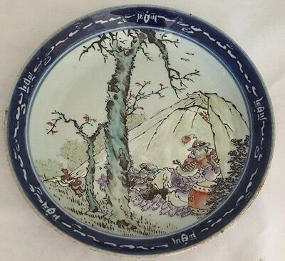Antique Chinese Man Tree Blue Plate Guangxu period? EXCELLENT