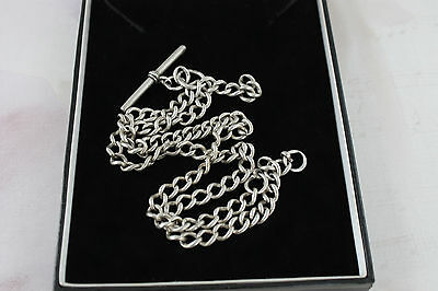 Antique Sterling Silver Double Albert Chain 1901 Pocket Watch Victorian 37g