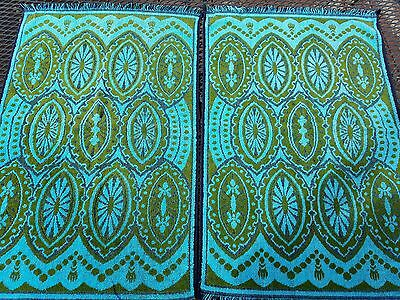 Vtg Martex Hand Towels Sculpted Turquoise Olive Green Reversible Mid Century