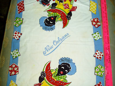 AFRICAN AMERICAN vintage new orleans dish towel black americana used A