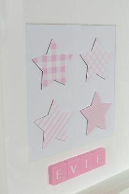 Personalised picture frame STARS /baby girl /new baby /christening /nursery/gift