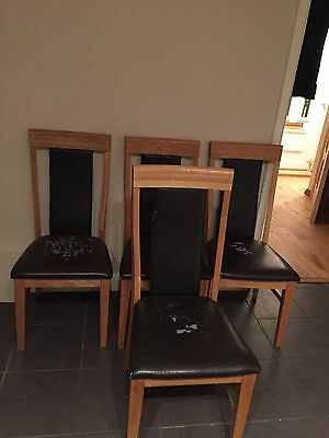 4 Brown Leather Oak Dinning Chairs From Cargo