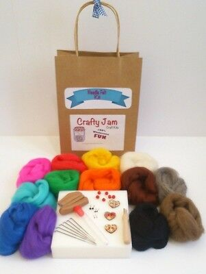 Needle Felting Starter Kit Merino Wool, Needles, mat, etc