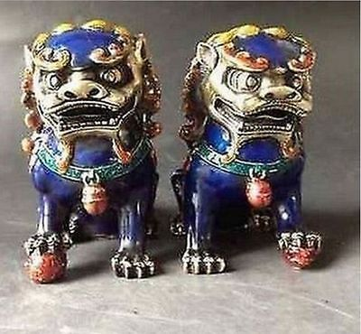 China Old Handwork A Pair Cloisonne Copper Statue--Lion Foo Dog