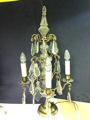 Antique French Empire 19Th C Brass & Clear Crystal Girandole Candlelabra
