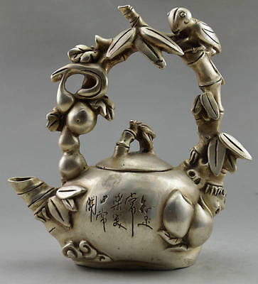 Original Tibet Silver Carved Bird On Grape Tree Big Tea Pot