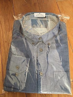 Mens NEW blue chambray long sleeved Oxford weave shirt M&S size 16.5 100% cotton