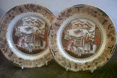 Early Pair Transferware Plates With Lustre Finish.excellent Condition