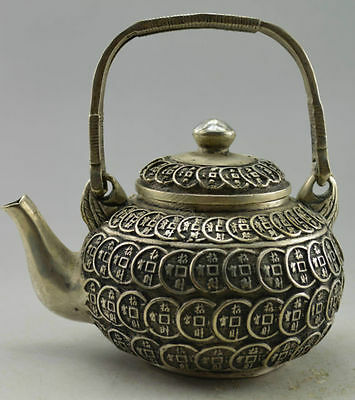 Collectible Decorated Tibet Silver Carved Bring Coins TeaPot