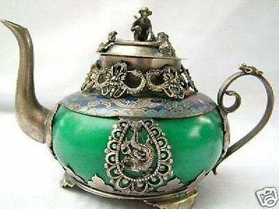 EXQUISITE HAND-CARVED dragon statues inlay green jade tibetan silver teapot