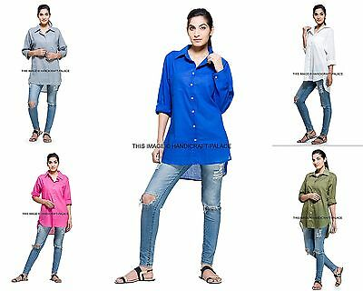 Women's Indian Long Sleeve Cotton Tops Casual Loose Solid Shirt Fashion Blouse