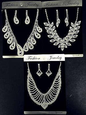 wholesale job lot Wedding Silver Plated Crystal Necklace Earrings set 3pc/pack