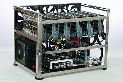 6, 7 GPU, Zcash (ZEC), Ethereum aluminum open air mining case, Crypto Monster
