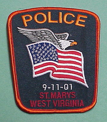 St. Marys  West Virginia  Wv  9-11-01 Red Border  Police Patch  Free Shipping!!!