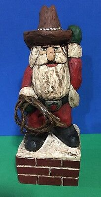 "Handcrafted Carved Cowboy Santa 10"" Tall Great Detail"