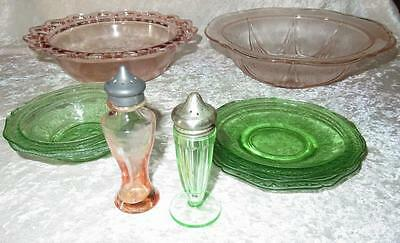 Lot of Pink & Green Depresstion Glass Patrician ~ Royal Lace ~ Open Lace +