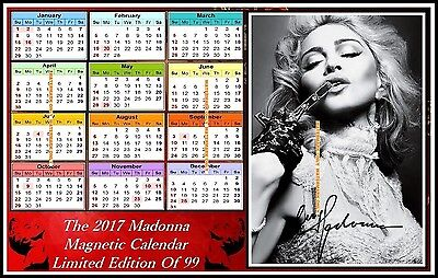 Madonna, Autographed, 2017, A4 MAGNETIC CALENDAR, Limited Edition (M5-MAD)