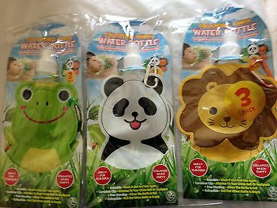 Kids Collapsible Water Bottle Set of 3 New & Sealed