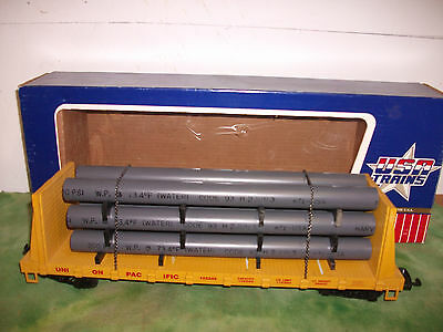USA  Trains  Union Pacific High Sided Flat Car with Pipe Load # R-17602  G Scale
