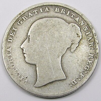 QUEEN VICTORIA YOUNG HEAD SILVER ONE SHILLING COIN dated 1842