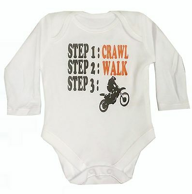Babys White Unisex Motocross Bodysuit Various Sizes New